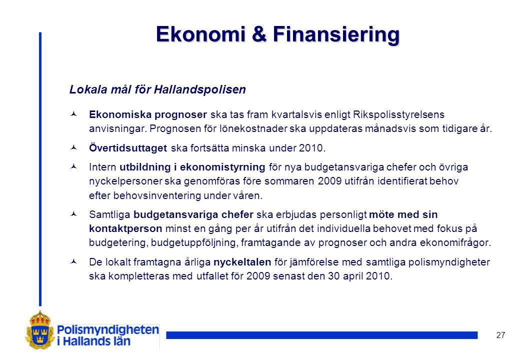 27 Lokala mål för Hallandspolisen © Ekonomiska prognoser ska tas fram kvartalsvis enligt Rikspolisstyrelsens anvisningar.