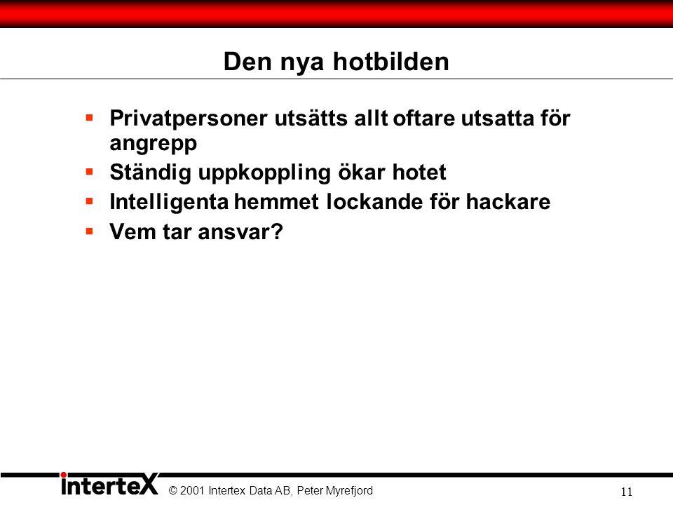 © 2001 Intertex Data AB, Peter Myrefjord 11 Den nya hotbilden  Privatpersoner utsätts allt oftare utsatta för angrepp  Ständig uppkoppling ökar hotet  Intelligenta hemmet lockande för hackare  Vem tar ansvar?