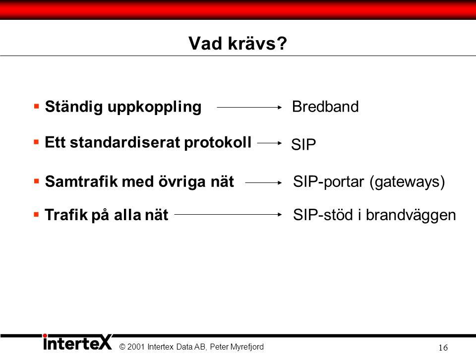 © 2001 Intertex Data AB, Peter Myrefjord 16 Vad krävs.