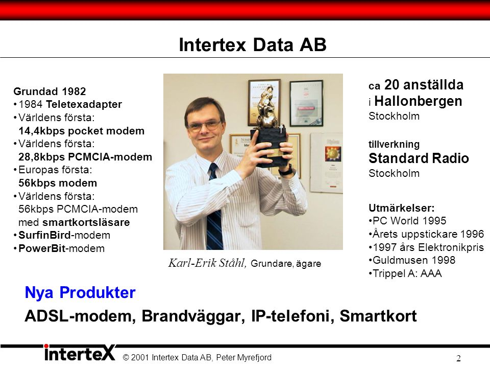 © 2001 Intertex Data AB, Peter Myrefjord 23 Låt oss ringa ett samtal… LAN PSTN Gateway PSTN Brandvägg SIP Proxy Registrar SIP Server GSM Gateway Ringer: peter@siplab.net Dynamic session setup siplab.net SIP forwarding RING.