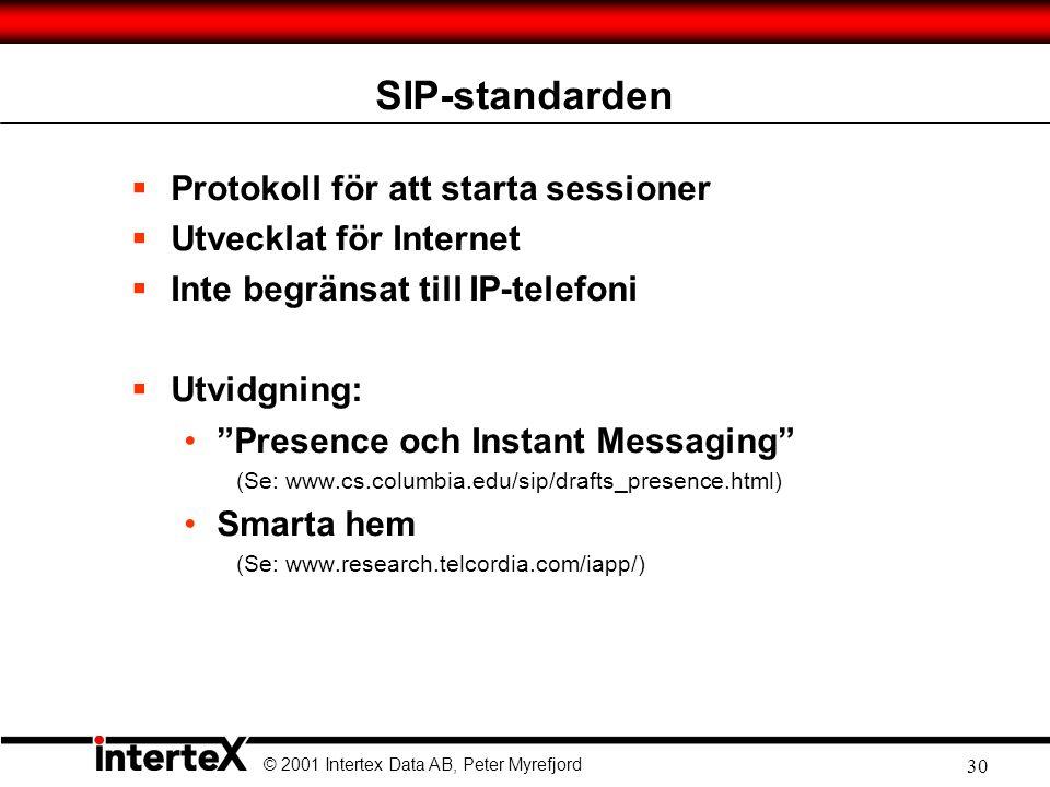 © 2001 Intertex Data AB, Peter Myrefjord 30 SIP-standarden  Protokoll för att starta sessioner  Utvecklat för Internet  Inte begränsat till IP-telefoni  Utvidgning: • Presence och Instant Messaging (Se: www.cs.columbia.edu/sip/drafts_presence.html) •Smarta hem (Se: www.research.telcordia.com/iapp/)