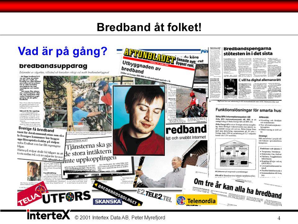 © 2001 Intertex Data AB, Peter Myrefjord 4 Bredband åt folket! Vad är på gång?
