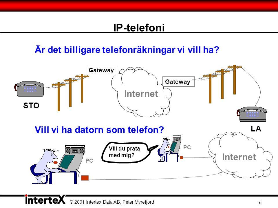 © 2001 Intertex Data AB, Peter Myrefjord 6 IP-telefoni Är det billigare telefonräkningar vi vill ha.