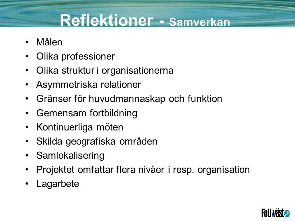 Reflektioner - Samverkan •Målen •Olika professioner •Olika struktur i organisationerna •Asymmetriska relationer •Gränser för huvudmannaskap och funktion •Gemensam fortbildning •Kontinuerliga möten •Skilda geografiska områden •Samlokalisering •Projektet omfattar flera nivåer i resp.