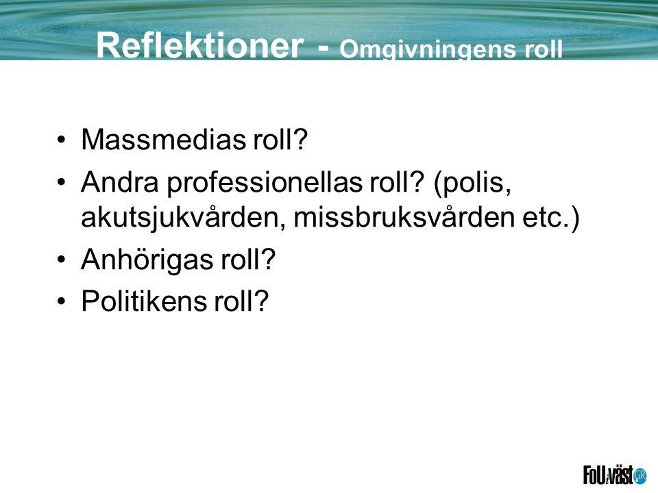 Reflektioner - Omgivningens roll •Massmedias roll.
