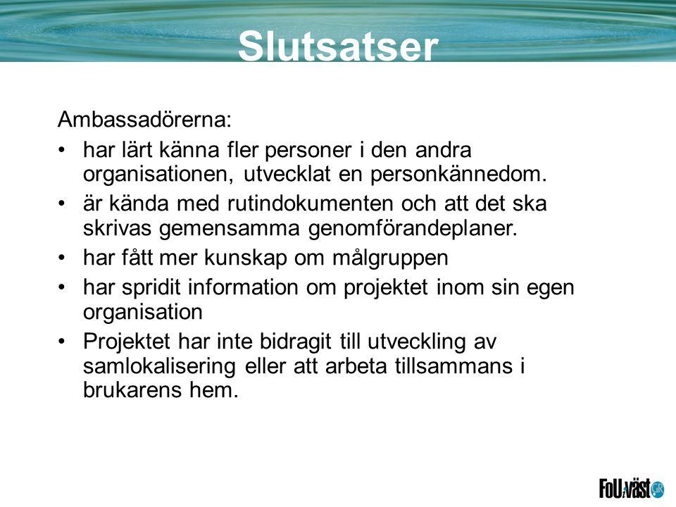 Slutsatser Ambassadörerna: •har lärt känna fler personer i den andra organisationen, utvecklat en personkännedom.