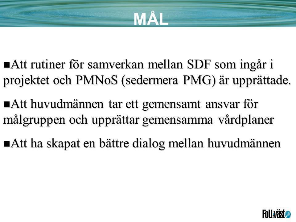 MÅL  Att rutiner för samverkan mellan SDF som ingår i projektet och PMNoS (sedermera PMG) är upprättade.