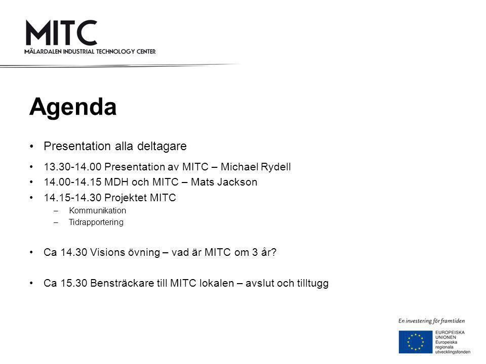 Agenda •Presentation alla deltagare •13.30-14.00 Presentation av MITC – Michael Rydell •14.00-14.15 MDH och MITC – Mats Jackson •14.15-14.30 Projektet MITC –Kommunikation –Tidrapportering •Ca 14.30 Visions övning – vad är MITC om 3 år.