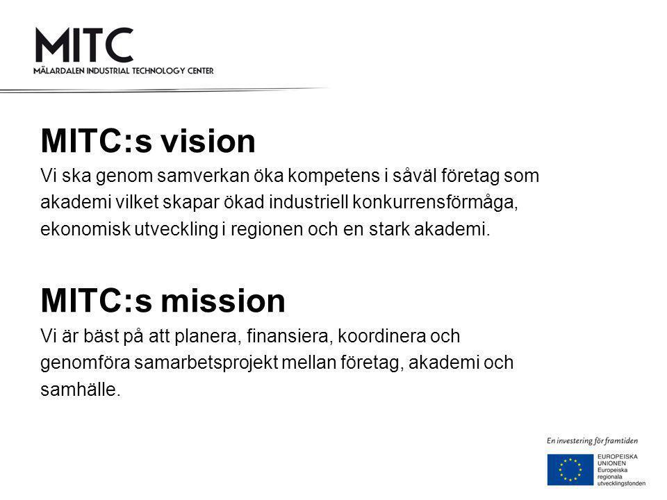 MITC:s vision Vi ska genom samverkan öka kompetens i såväl företag som akademi vilket skapar ökad industriell konkurrensförmåga, ekonomisk utveckling i regionen och en stark akademi.
