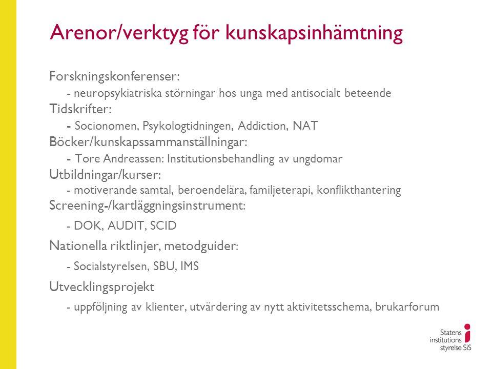 Arenor/verktyg för kunskapsinhämtning Forskningskonferenser: - neuropsykiatriska störningar hos unga med antisocialt beteende Tidskrifter: - Socionome