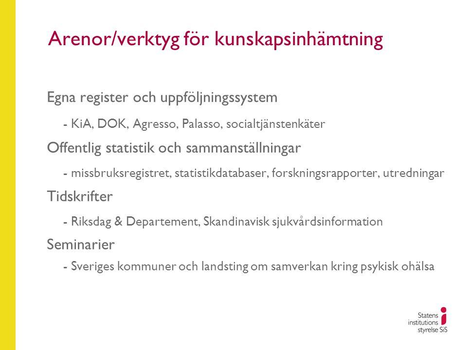 Arenor/verktyg för kunskapsinhämtning Egna register och uppföljningssystem - KiA, DOK, Agresso, Palasso, socialtjänstenkäter Offentlig statistik och s