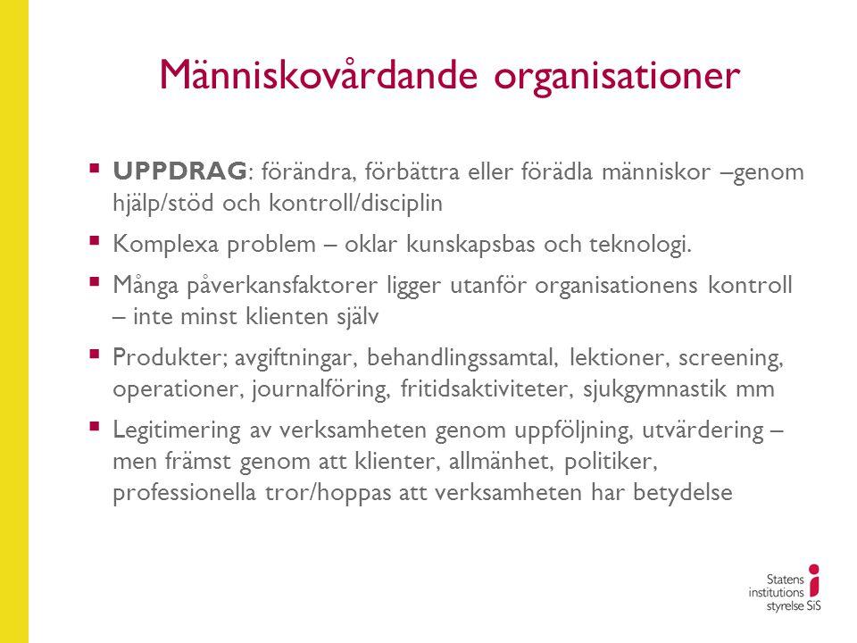 Människovårdande organisationer  UPPDRAG: förändra, förbättra eller förädla människor –genom hjälp/stöd och kontroll/disciplin  Komplexa problem – o