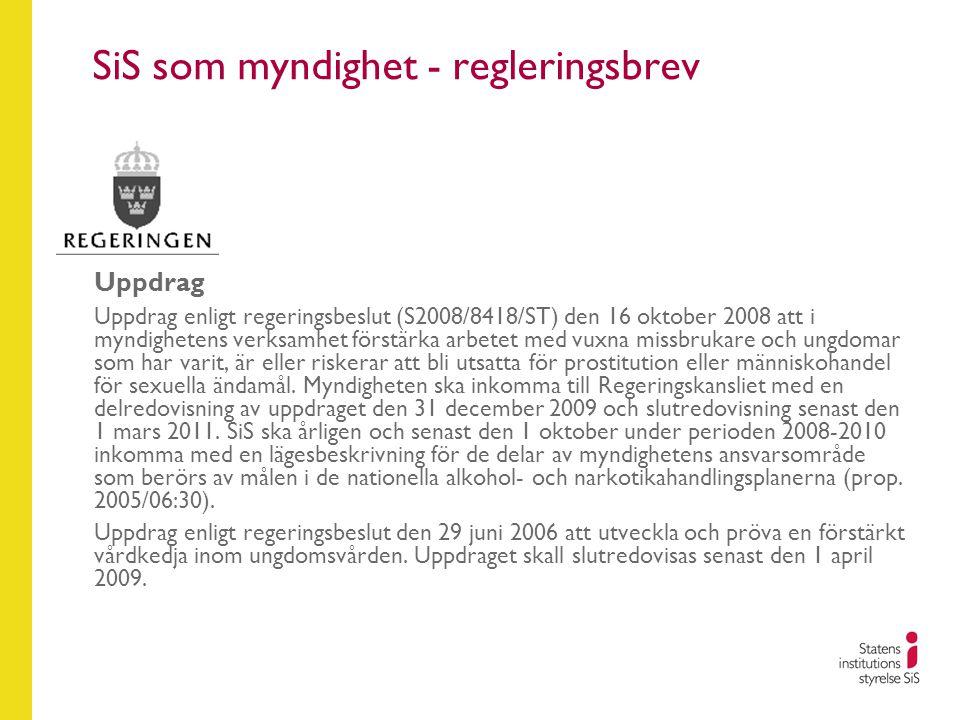 SiS som myndighet - regleringsbrev Uppdrag Uppdrag enligt regeringsbeslut (S2008/8418/ST) den 16 oktober 2008 att i myndighetens verksamhet förstärka