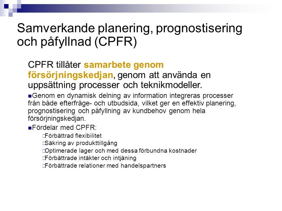 Samverkande planering, prognostisering och påfyllnad (CPFR) CPFR tillåter samarbete genom försörjningskedjan, genom att använda en uppsättning process