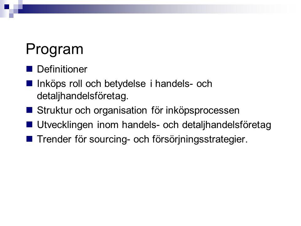 Program  Definitioner  Inköps roll och betydelse i handels- och detaljhandelsföretag.  Struktur och organisation för inköpsprocessen  Utvecklingen