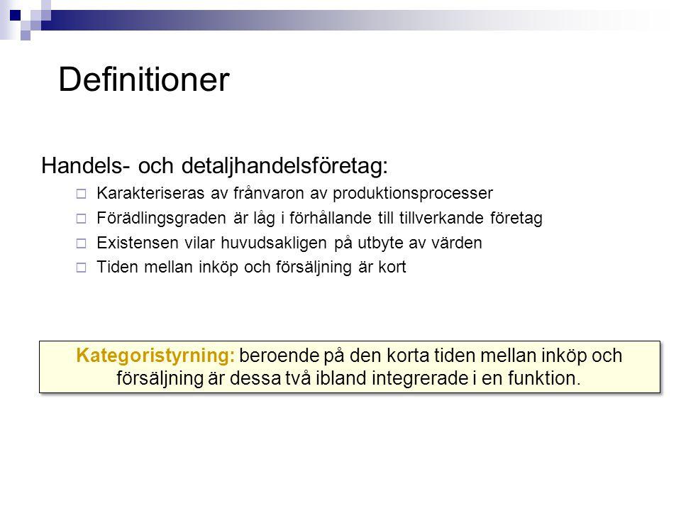 Ingående logistik Utgående logistik Kommersia- lisering/sortiments- förvaltning Anläggningsinköp Förvaltning av humankapital Teknik Infrastruktur Värdekedjan i handelsföretag (bearbetad från Porter, 1985) Definitioner