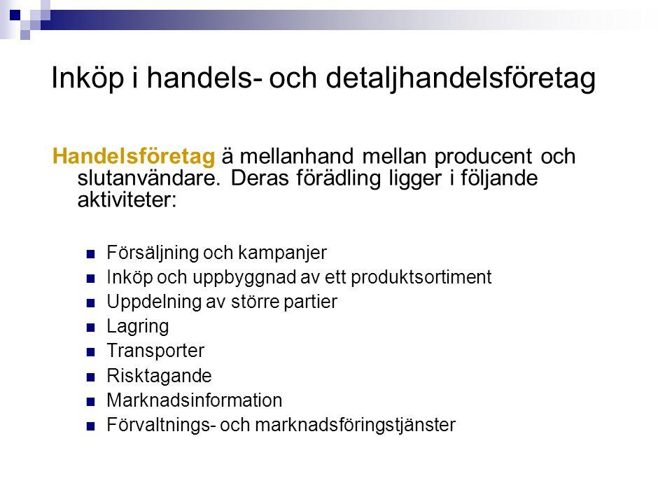 Handelsföretag ä mellanhand mellan producent och slutanvändare. Deras förädling ligger i följande aktiviteter:  Försäljning och kampanjer  Inköp och