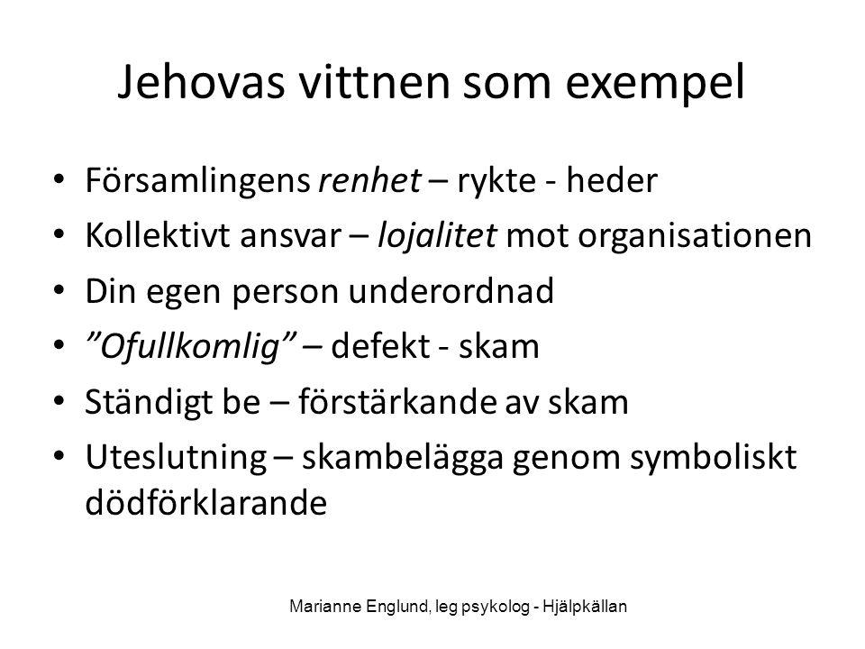 Jehovas vittnen som exempel • Församlingens renhet – rykte - heder • Kollektivt ansvar – lojalitet mot organisationen • Din egen person underordnad •
