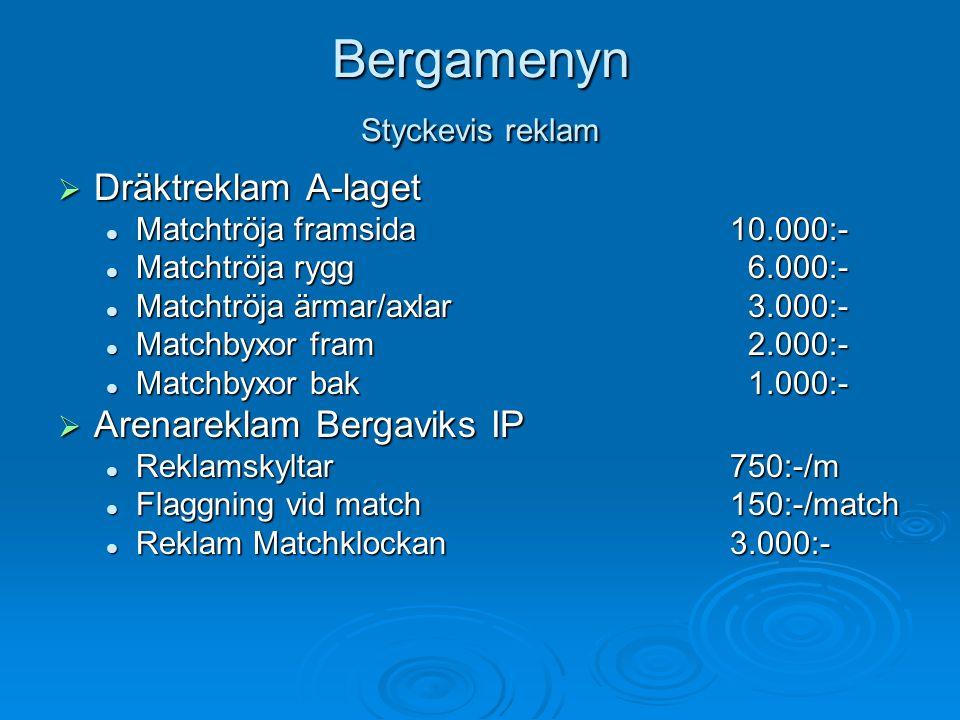 Matchreklam  Matchsponsor A-laget 2008  Tidningsannons med logo i Bar-OT + ÖS  Flaggning med företagsflaggor  Publikutskick med info om Ert företag  Högtalarreklam  Pris: