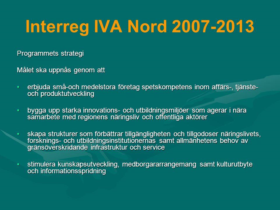 Interreg IV A Nord 2007-2013 Prioriterade områden –Utveckling av näringslivet –Forskning, utveckling och utbildning –Regional funktionalitet och identitet –Delprogrammet Sápmi – gränslös utveckling Ingrid Inga, maj 2007 Nord Delprogram Sápmi