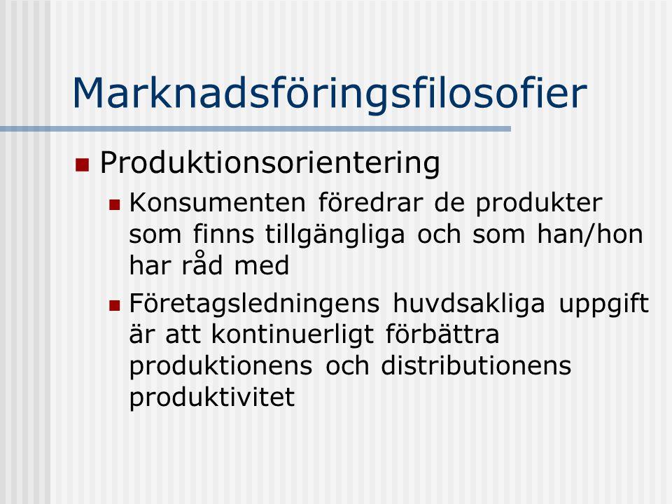 Marknadsföringsfilosofier  Produktionsorientering  Konsumenten föredrar de produkter som finns tillgängliga och som han/hon har råd med  Företagsle