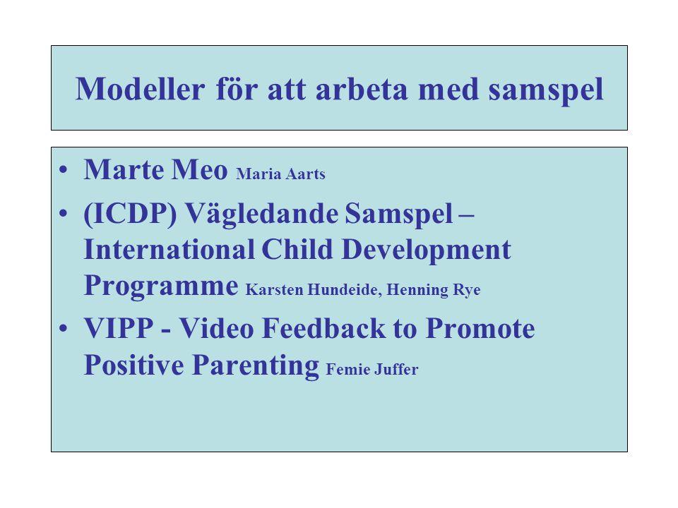 Modeller för att arbeta med samspel •Marte Meo Maria Aarts •(ICDP) Vägledande Samspel – International Child Development Programme Karsten Hundeide, He