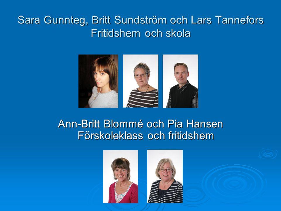 Sara Gunnteg, Britt Sundström och Lars Tannefors Fritidshem och skola Ann-Britt Blommé och Pia Hansen Förskoleklass och fritidshem