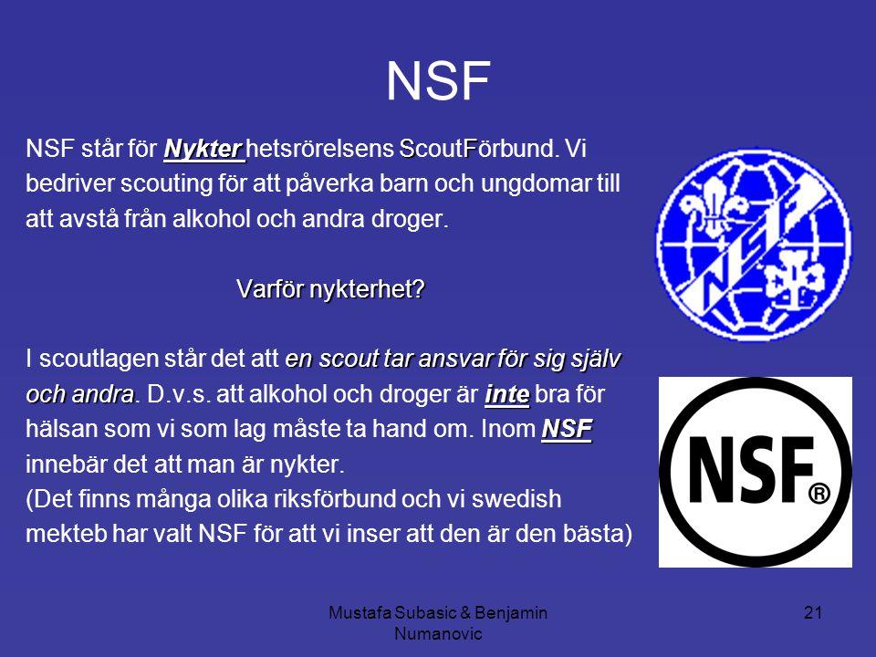 Mustafa Subasic & Benjamin Numanovic 21 NSF Nykter SF NSF står för Nykter hetsrörelsens ScoutFörbund. Vi bedriver scouting för att påverka barn och un