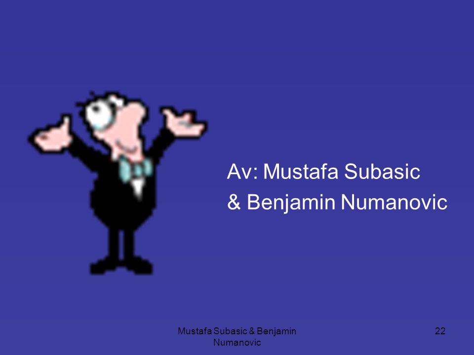 Mustafa Subasic & Benjamin Numanovic 22 Av: Mustafa Subasic & Benjamin Numanovic