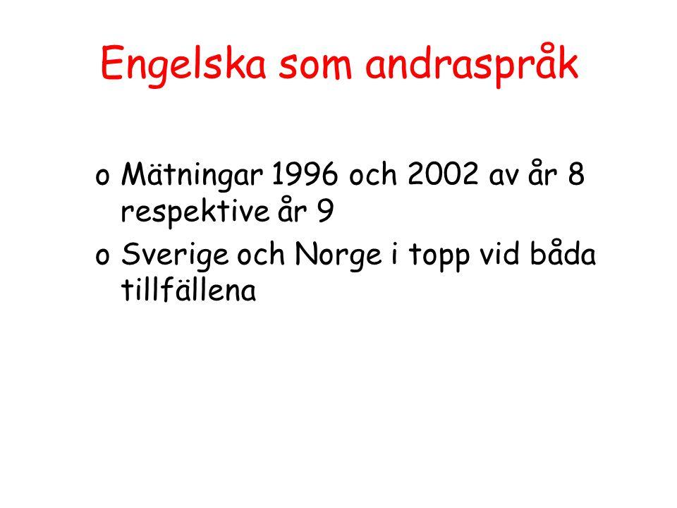 Engelska som andraspråk oMätningar 1996 och 2002 av år 8 respektive år 9 oSverige och Norge i topp vid båda tillfällena