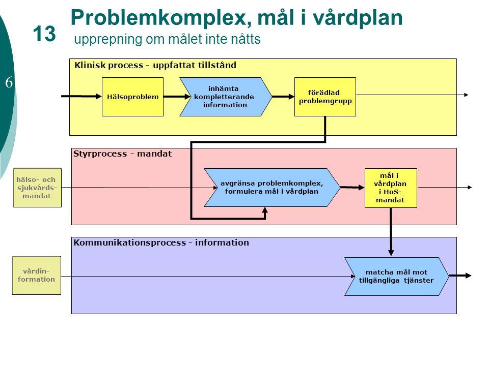 Problemkomplex, mål i vårdplan upprepning om målet inte nåtts inhämta kompletterande information förädlad problemgrupp avgränsa problemkomplex, formul