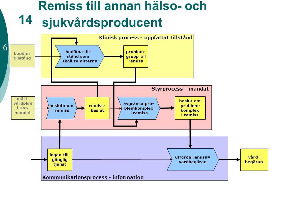 Remiss till annan hälso- och sjukvårdsproducent beslut om problem- komplex i remiss Klinisk process - uppfattat tillstånd Styrprocess - mandat Kommuni
