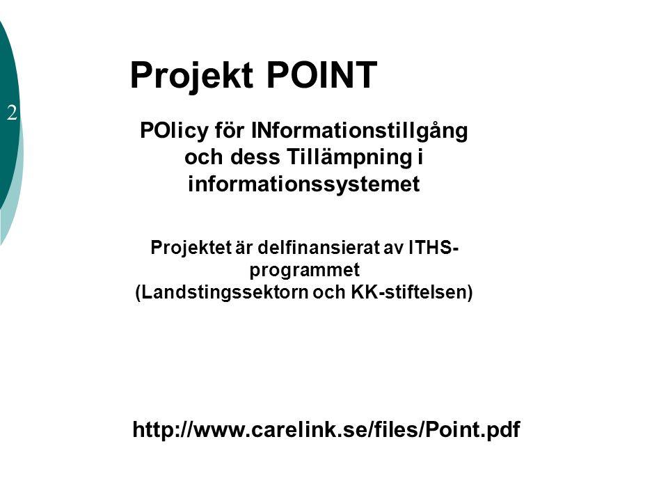 Projekt POINT POlicy för INformationstillgång och dess Tillämpning i informationssystemet Projektet är delfinansierat av ITHS- programmet (Landstingss