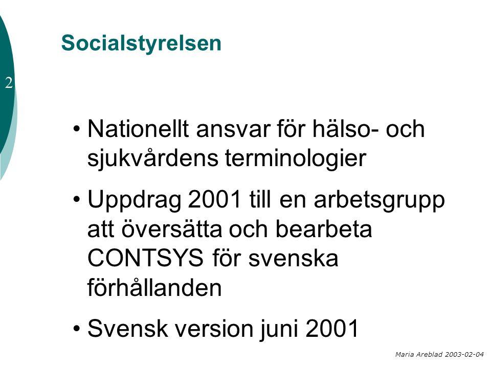 Socialstyrelsen •Nationellt ansvar för hälso- och sjukvårdens terminologier •Uppdrag 2001 till en arbetsgrupp att översätta och bearbeta CONTSYS för s