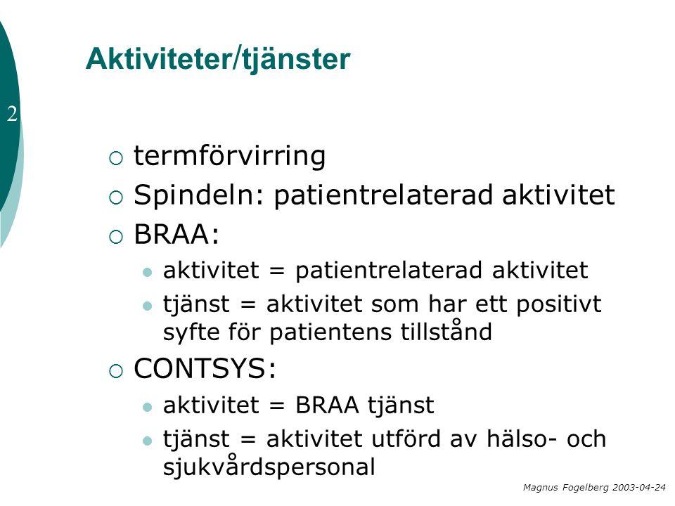 Aktiviteter / tjänster  termförvirring  Spindeln: patientrelaterad aktivitet  BRAA:  aktivitet = patientrelaterad aktivitet  tjänst = aktivitet s