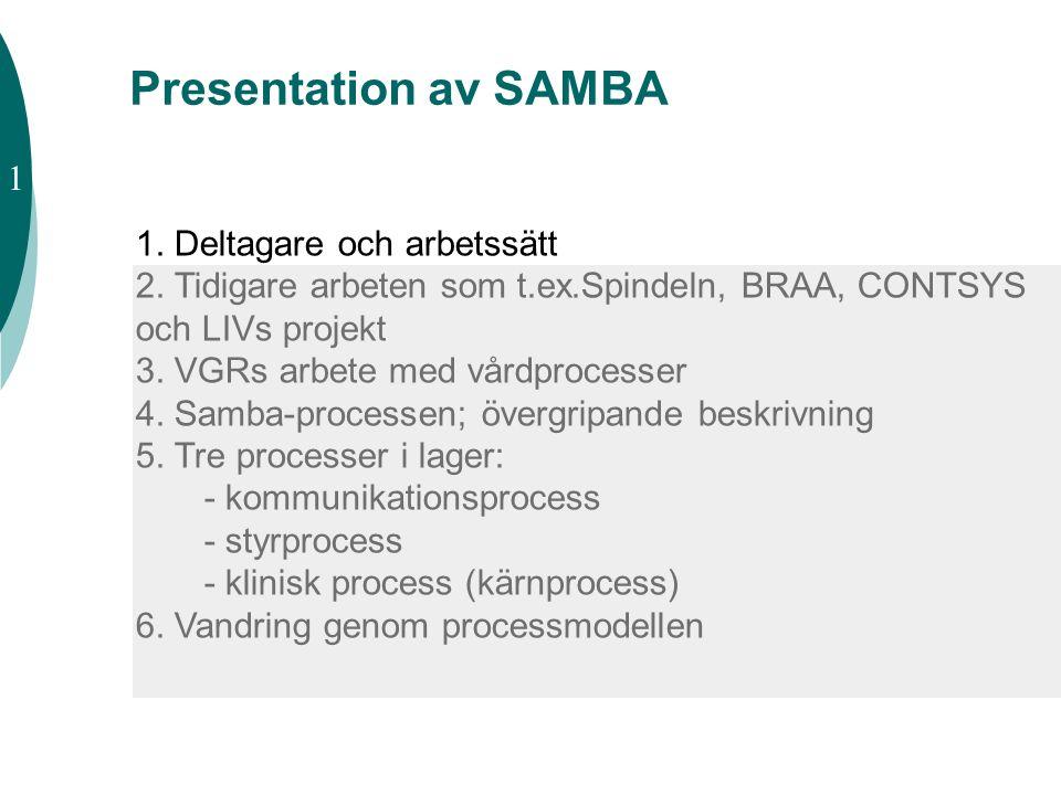 SAMBA - vårdprocessen Nationellt nätverk på initiativ från Stockholm, start hösten 2001 ITHS-finansierat projekt från våren 2002 Uppdrag: att redovisa en modell av hälso- och sjukvårdens huvudprocess i form av process- och begreppsmodell 1