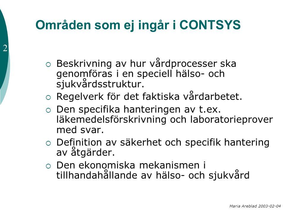 Områden som ej ingår i CONTSYS  Beskrivning av hur vårdprocesser ska genomföras i en speciell hälso- och sjukvårdsstruktur.  Regelverk för det fakti