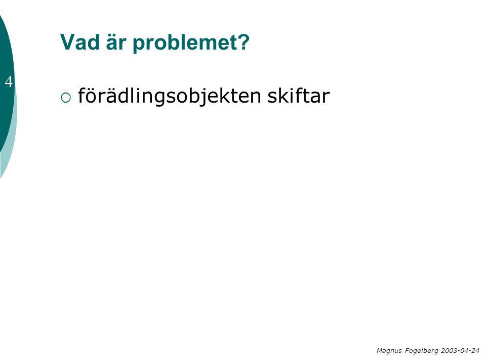 Vad är problemet?  förädlingsobjekten skiftar Magnus Fogelberg 2003-04-24 4
