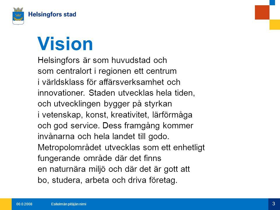 00.0.2008Esitelmän pitäjän nimi 4 Stadens värderingar är: Invånarcentrering Ekologisk inriktning Rättvisa Resurshushållning Trygghet Företagsvänlighet Värderingar