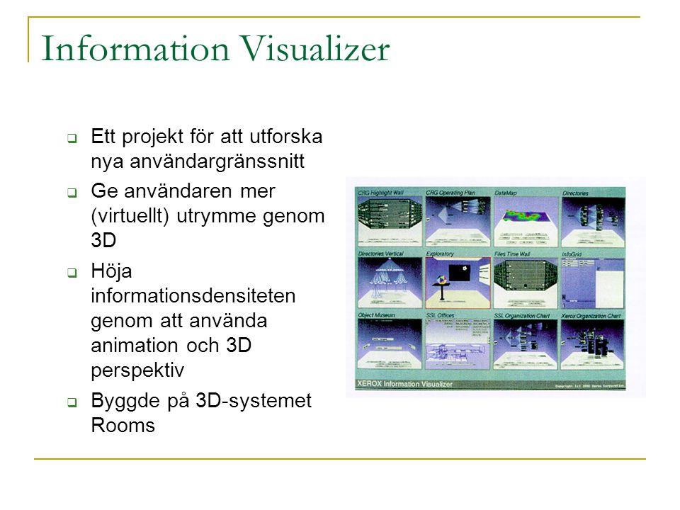 Information Visualizer – Cone Trees  Visualisering av hierarkisk information  Problemet med breda träd löses genom att utnyttja extra utrymme som 3D ger  Skugga ger överblick över hela trädet  Varje delträd är roterbart