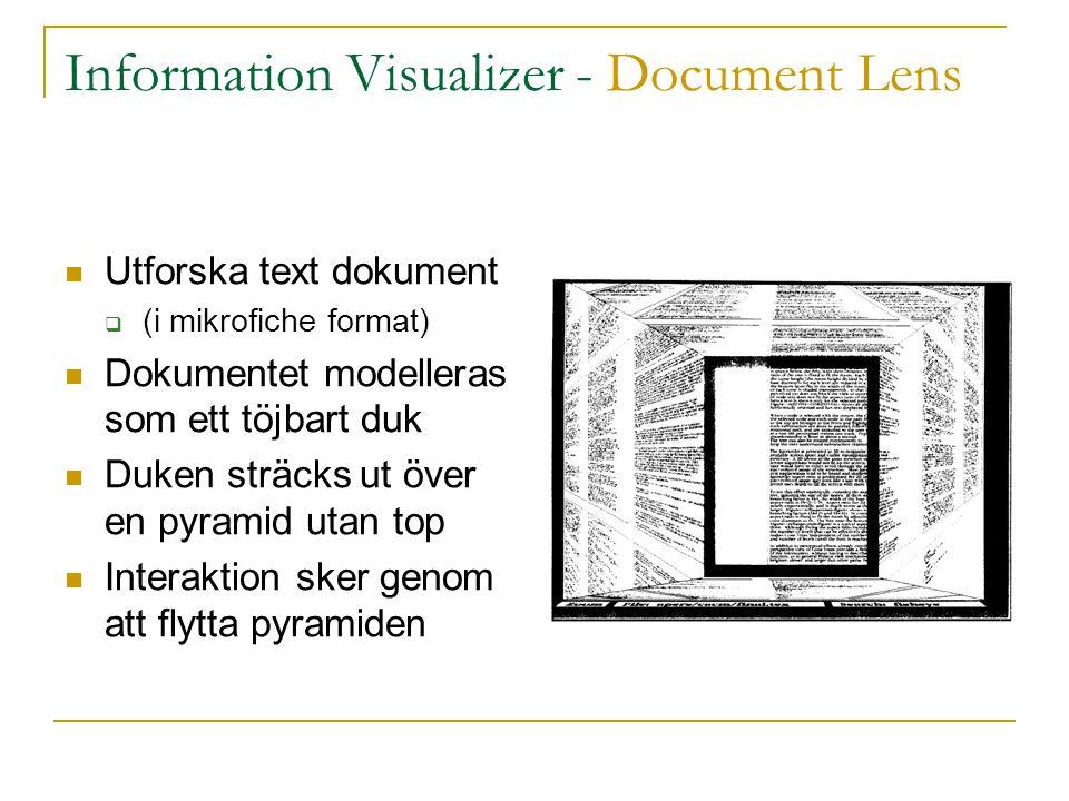 [Information Visualizer] – Butterfly Application  För sökande av referenser  Komponenter  Huvud: vald artikel  Vänster vinge: använda referenser  Höger vinge: referenser till artikeln  Referenser kan väljas för att skapa nya vyer