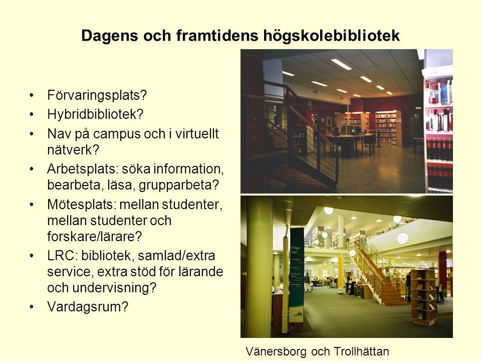 Dagens och framtidens högskolebibliotek •Förvaringsplats? •Hybridbibliotek? •Nav på campus och i virtuellt nätverk? •Arbetsplats: söka information, be