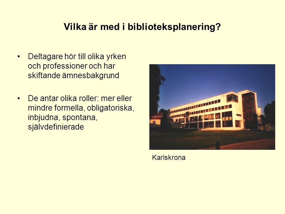 Vilka är med i biblioteksplanering? •Deltagare hör till olika yrken och professioner och har skiftande ämnesbakgrund •De antar olika roller: mer eller