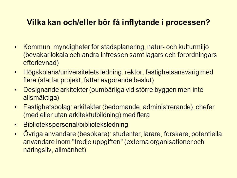 Vilka kan och/eller bör få inflytande i processen? •Kommun, myndigheter för stadsplanering, natur- och kulturmiljö (bevakar lokala och andra intressen