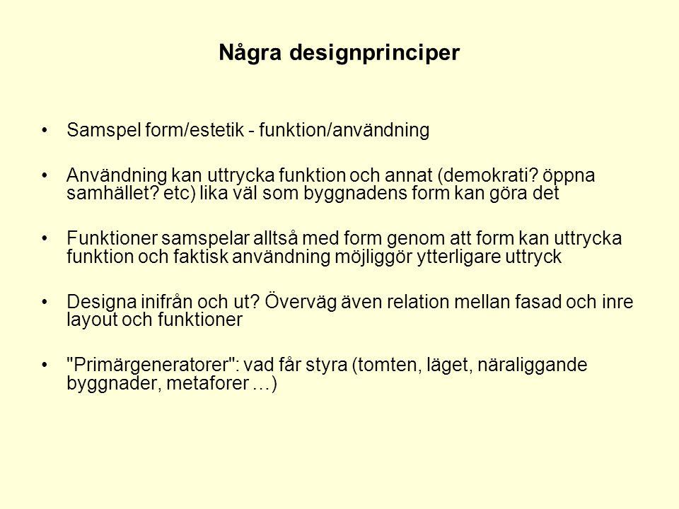 Några designprinciper •Samspel form/estetik - funktion/användning •Användning kan uttrycka funktion och annat (demokrati? öppna samhället? etc) lika v