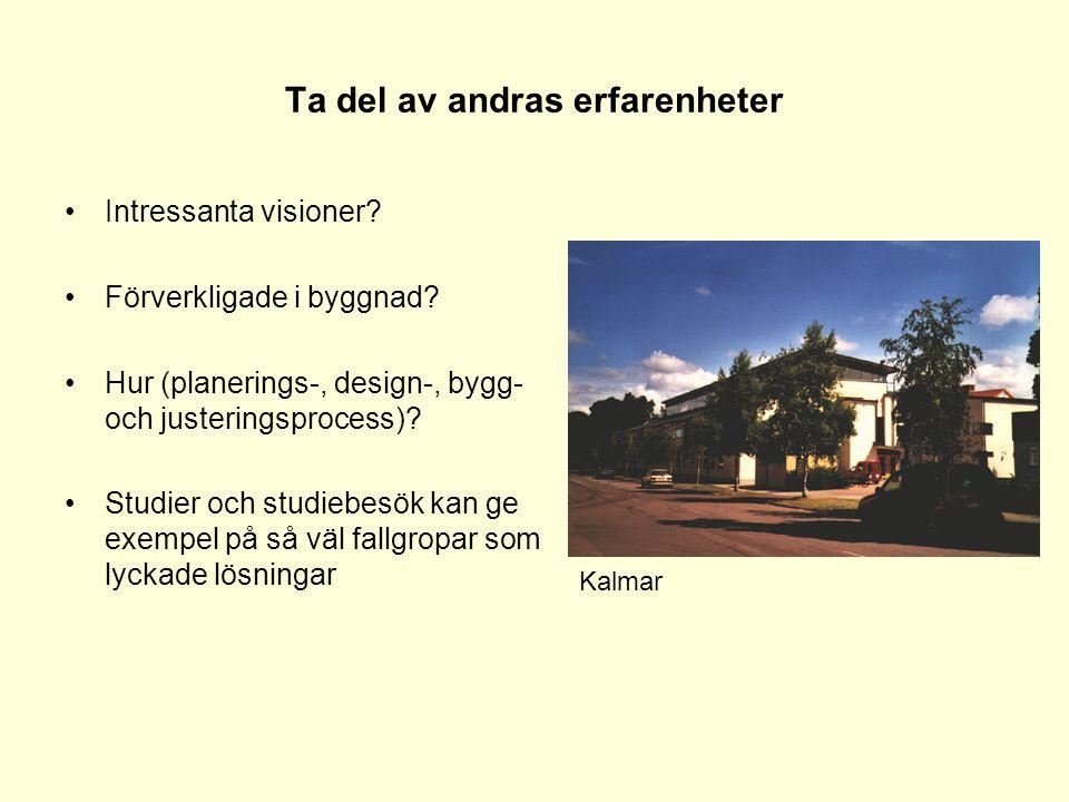 Ta del av andras erfarenheter •Intressanta visioner? •Förverkligade i byggnad? •Hur (planerings-, design-, bygg- och justeringsprocess)? •Studier och