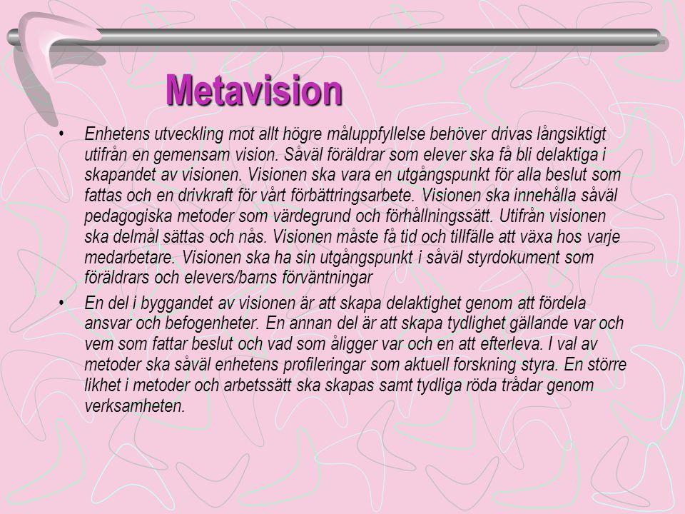 Metavision Metavision • Enhetens utveckling mot allt högre måluppfyllelse behöver drivas långsiktigt utifrån en gemensam vision.
