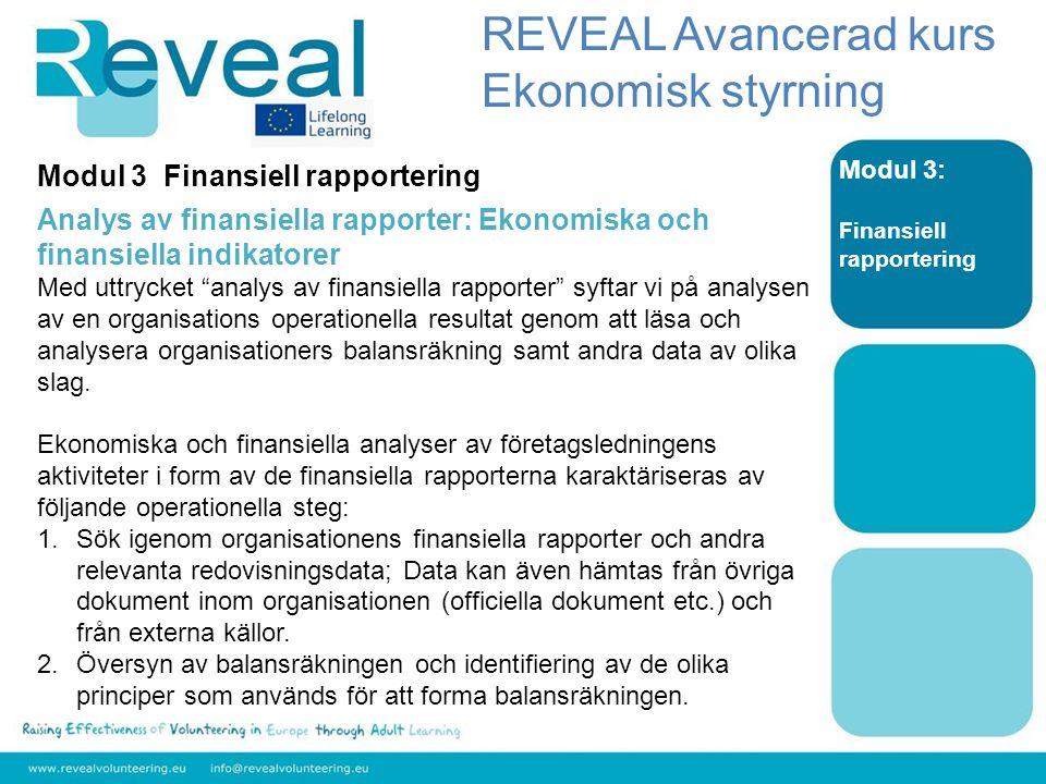Modul 3: Finansiell rapportering Modul 3 Finansiell rapportering Analys av finansiella rapporter: Ekonomiska och finansiella indikatorer Med uttrycket analys av finansiella rapporter syftar vi på analysen av en organisations operationella resultat genom att läsa och analysera organisationers balansräkning samt andra data av olika slag.