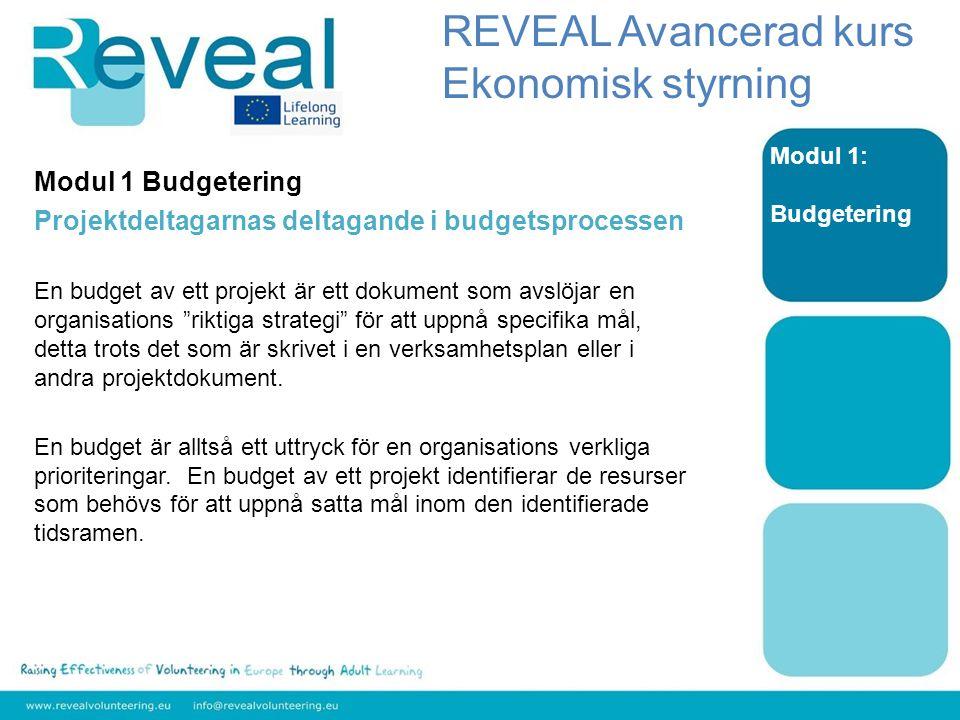 Modul 1 Budgetering Projektdeltagarnas deltagande i budgetsprocessen En budget av ett projekt är ett dokument som avslöjar en organisations riktiga strategi för att uppnå specifika mål, detta trots det som är skrivet i en verksamhetsplan eller i andra projektdokument.