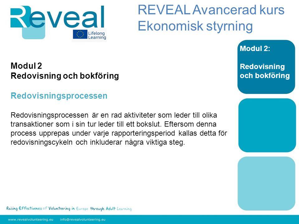 Modul 2: Redovisning och bokföring Modul 2 Redovisning och bokföring Redovisningsprocessen Redovisningsprocessen är en rad aktiviteter som leder till olika transaktioner som i sin tur leder till ett bokslut.